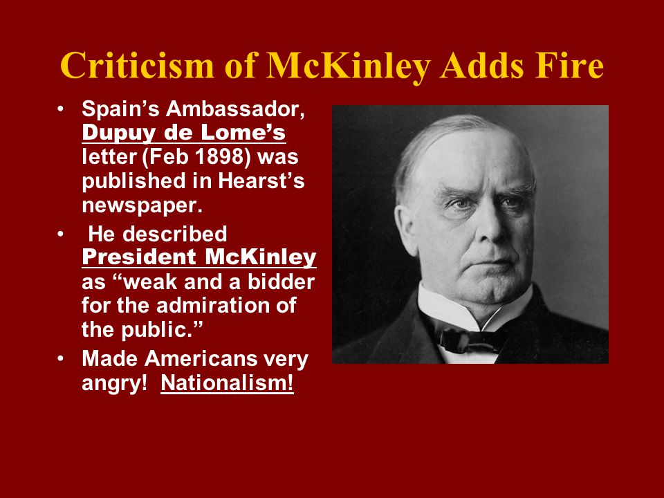Criticism of McKinley Adds Fire