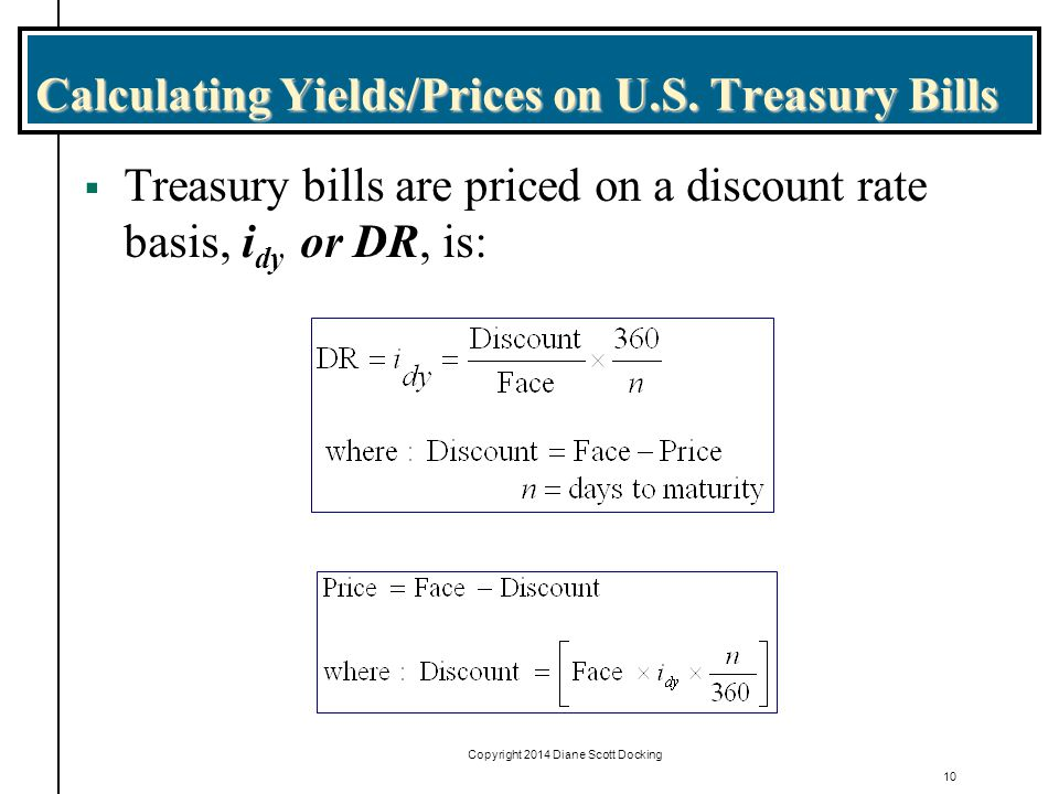 Calculating Yields/Prices on U.S. Treasury Bills