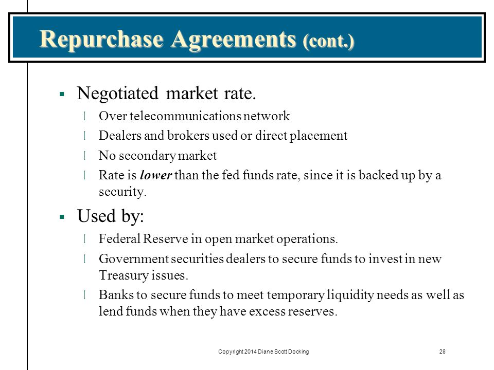 repurchase agreement Stock repurchase agreement is a contract entered into by a corporation with its shareholders to reacquire the corporation's stock from the stockholders.