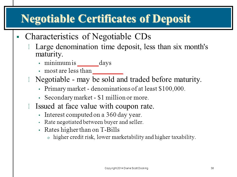 Negotiable Certificates of Deposit