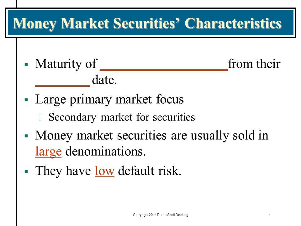 Money Market Securities' Characteristics