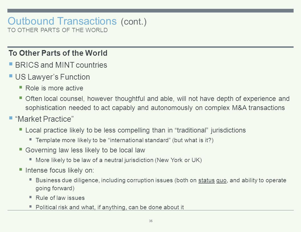 Outbound Transactions (cont.) TO OTHER PARTS OF THE WORLD