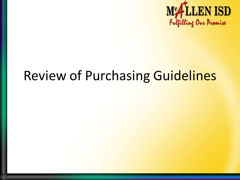 Review of Purchasing Guidelines
