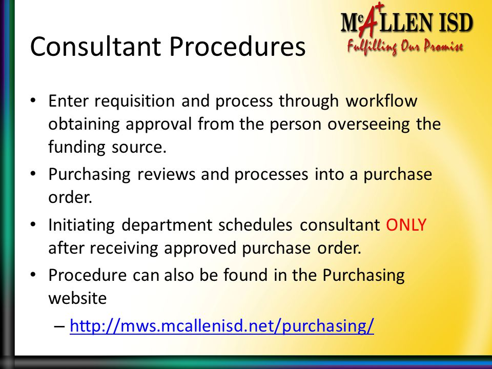 Consultant Procedures