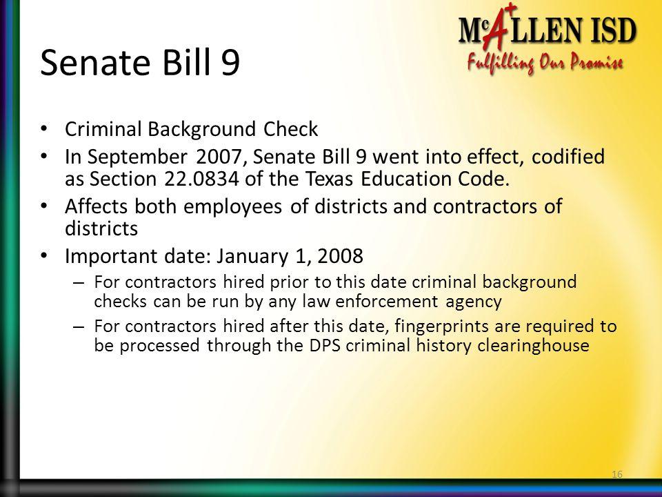 Senate Bill 9 Criminal Background Check