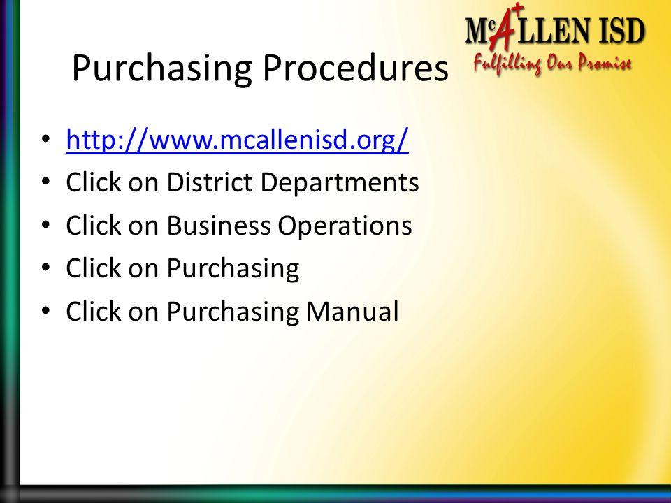 Purchasing Procedures