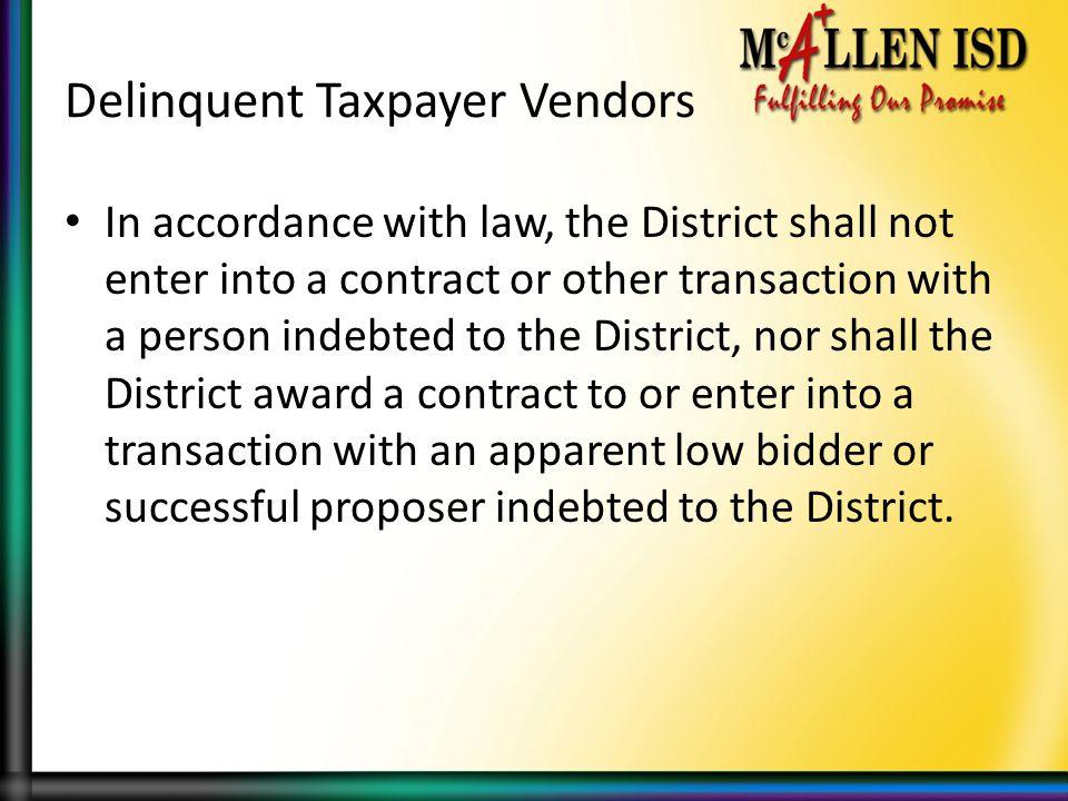 Delinquent Taxpayer Vendors