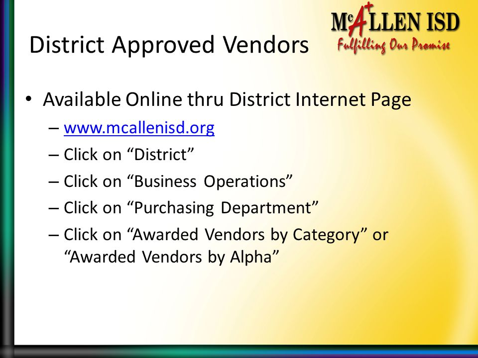 District Approved Vendors