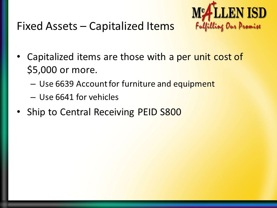 Fixed Assets – Capitalized Items