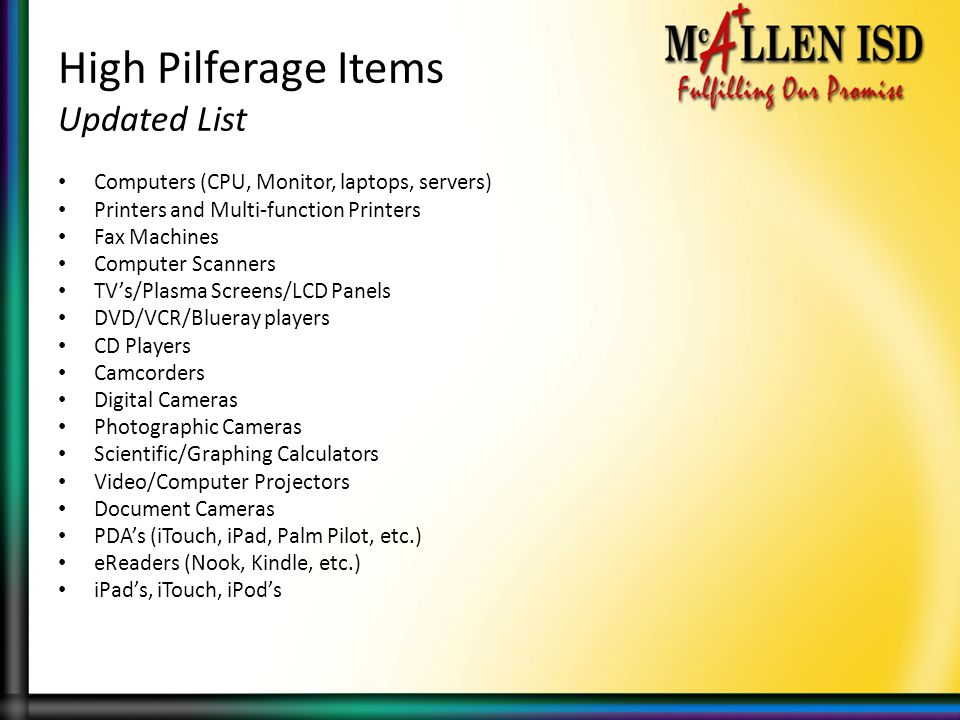 High Pilferage Items Updated List