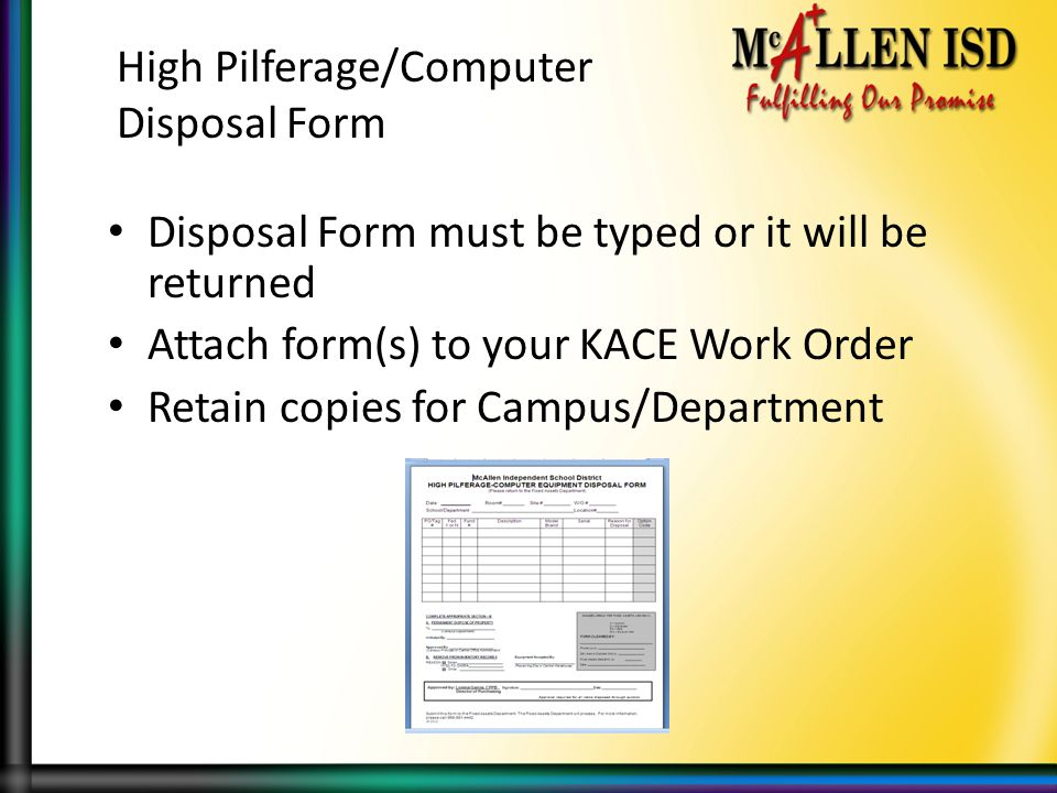 High Pilferage/Computer Disposal Form