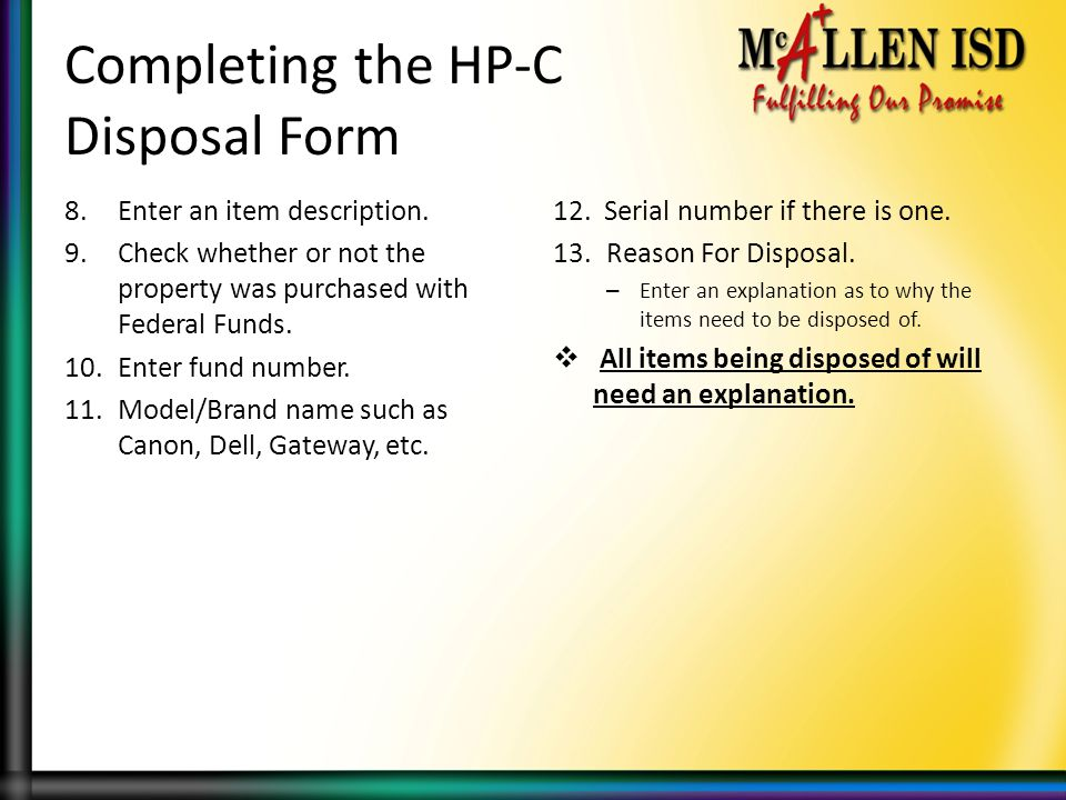 Completing the HP-C Disposal Form