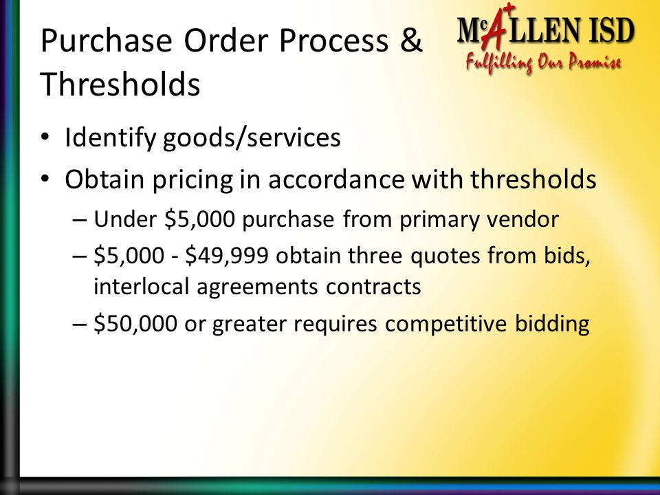 Purchase Order Process & Thresholds