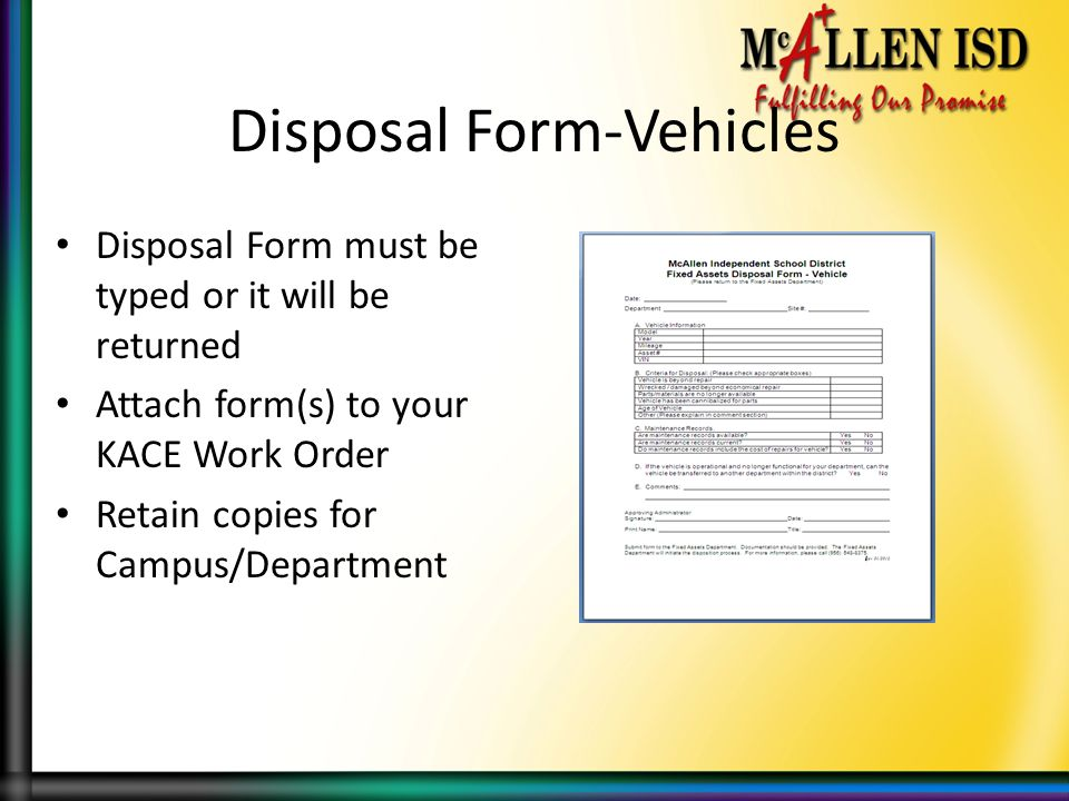 Disposal Form-Vehicles