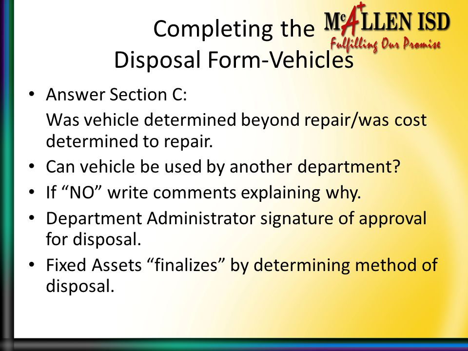 Completing the Disposal Form-Vehicles