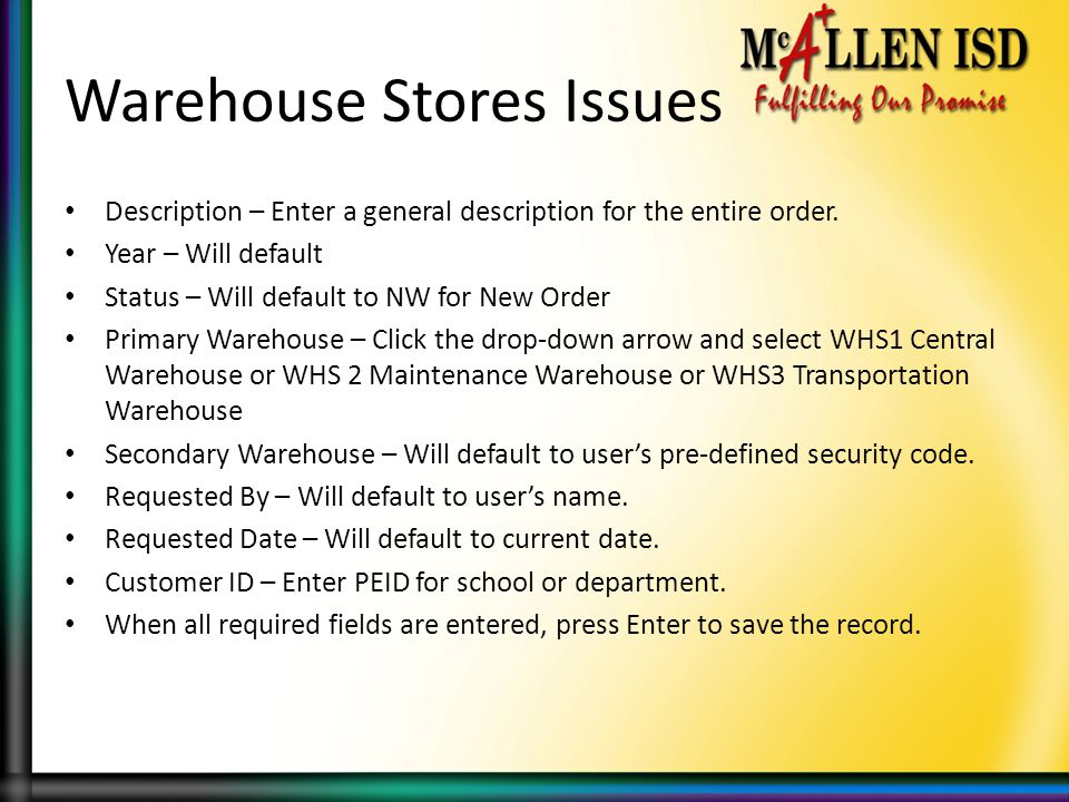 Warehouse Stores Issues