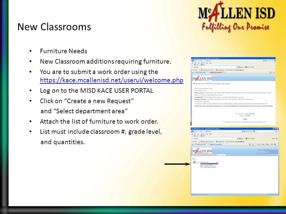 New Classrooms Furniture Needs