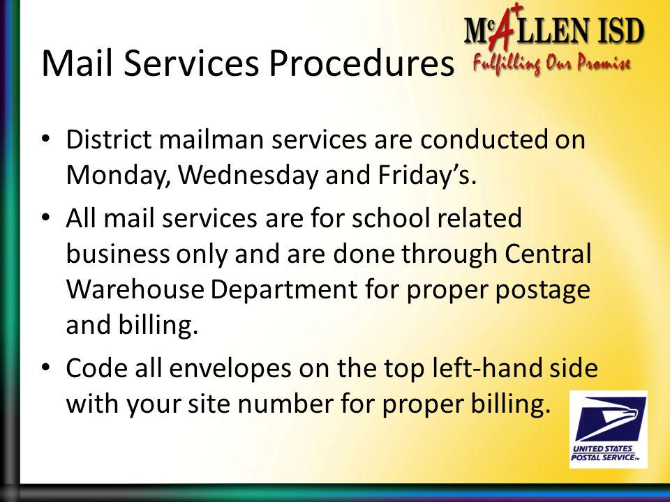 Mail Services Procedures