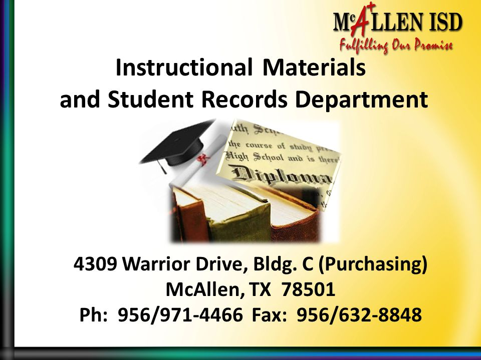 Instructional Materials and Student Records Department