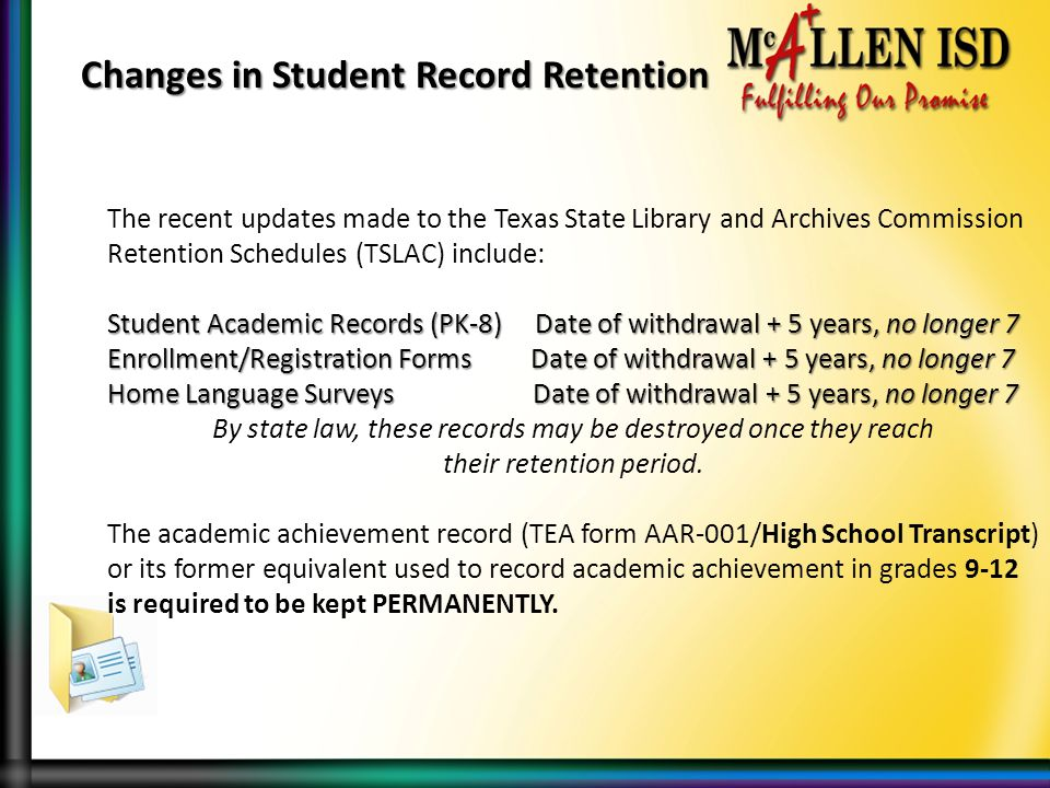 Changes in Student Record Retention