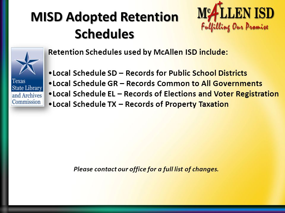 MISD Adopted Retention Schedules