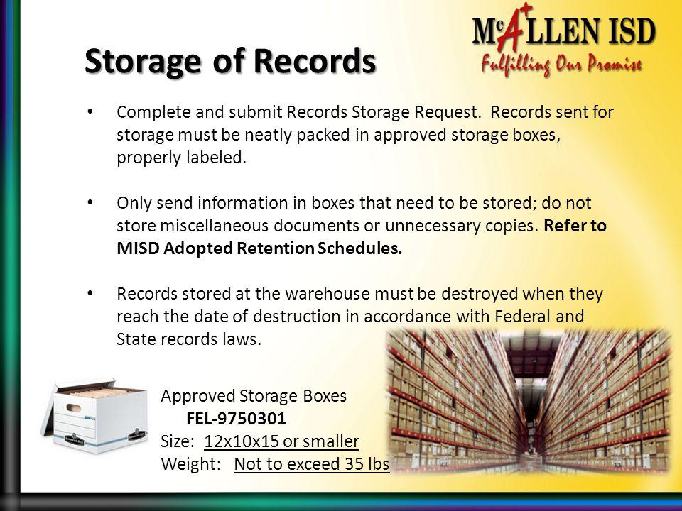 Storage of Records