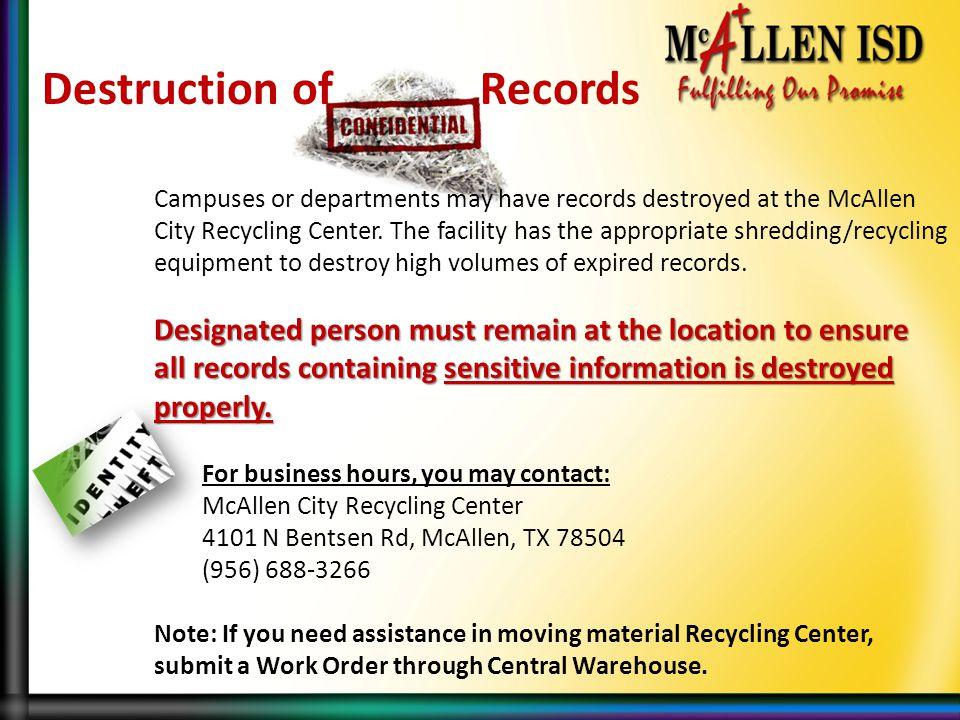 Destruction of Records