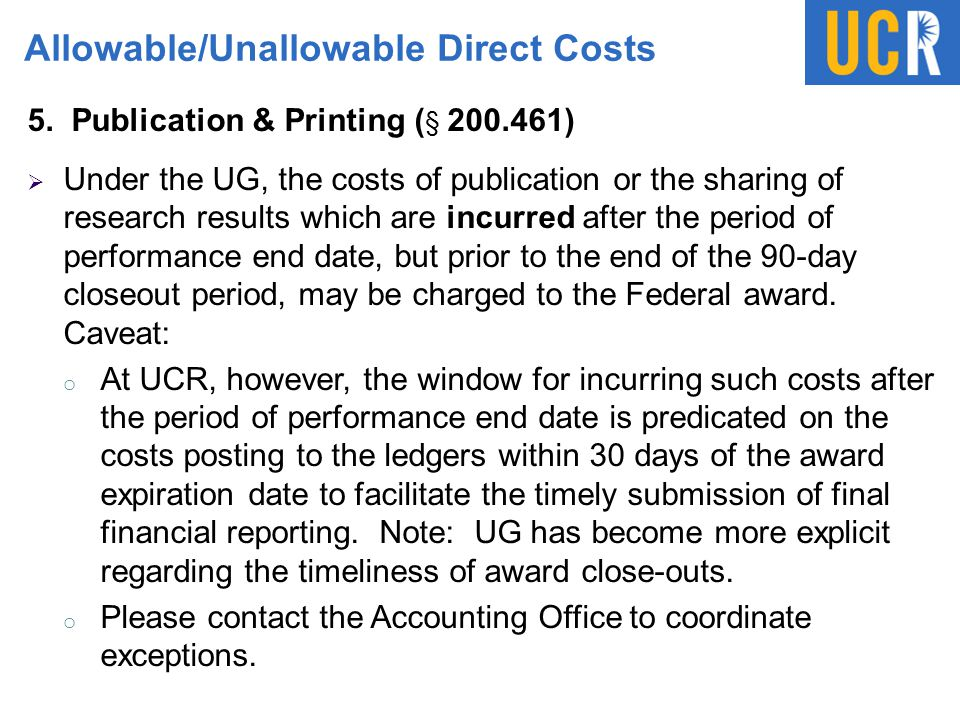 Allowable/Unallowable Direct Costs
