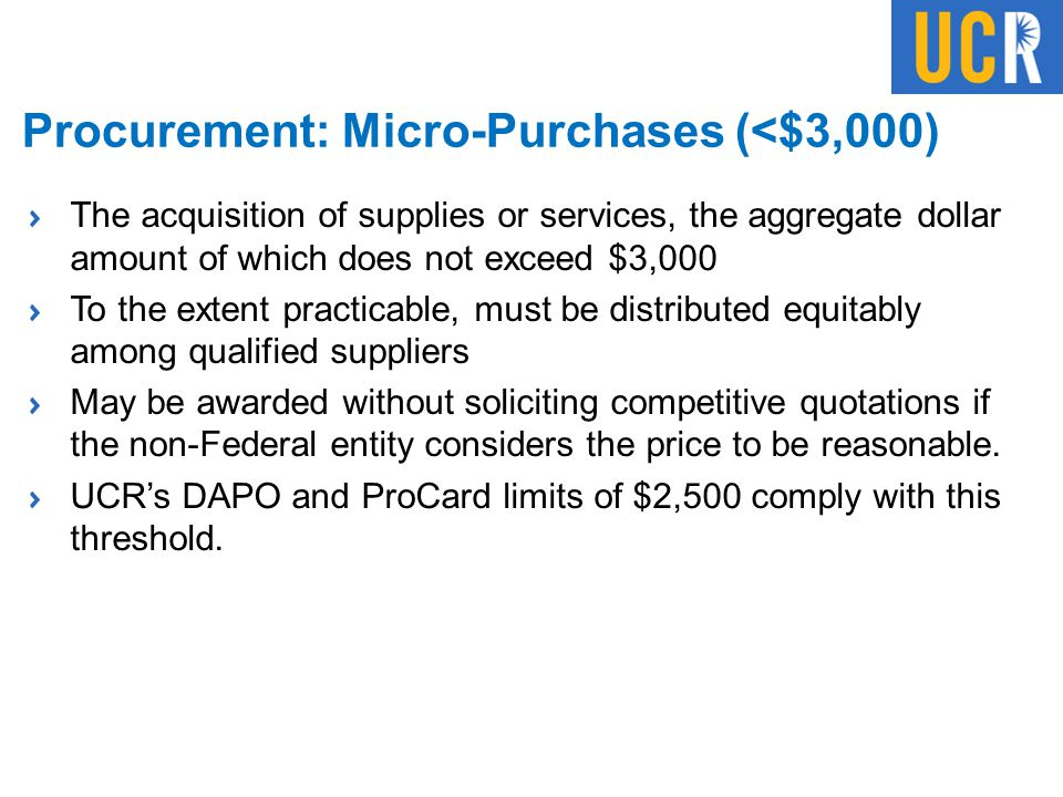 Procurement: Micro-Purchases (<$3,000)