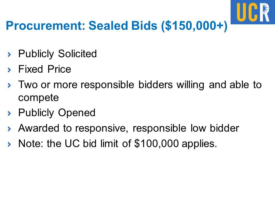 Procurement: Sealed Bids ($150,000+)