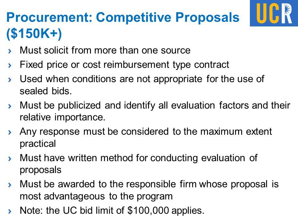Procurement: Competitive Proposals ($150K+)