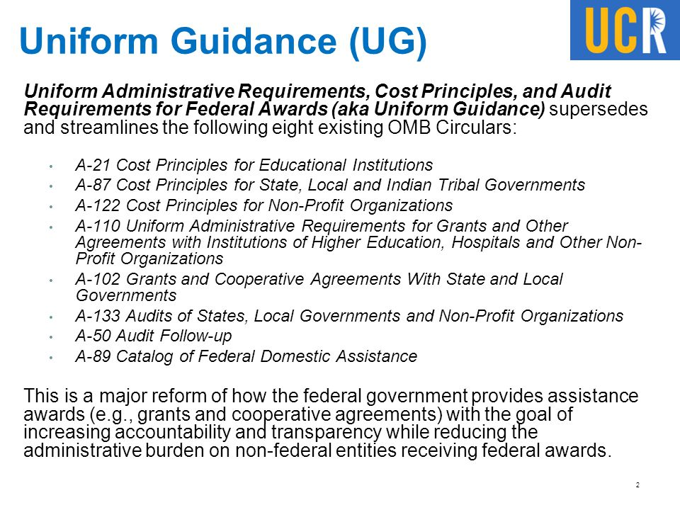 Uniform Guidance (UG)