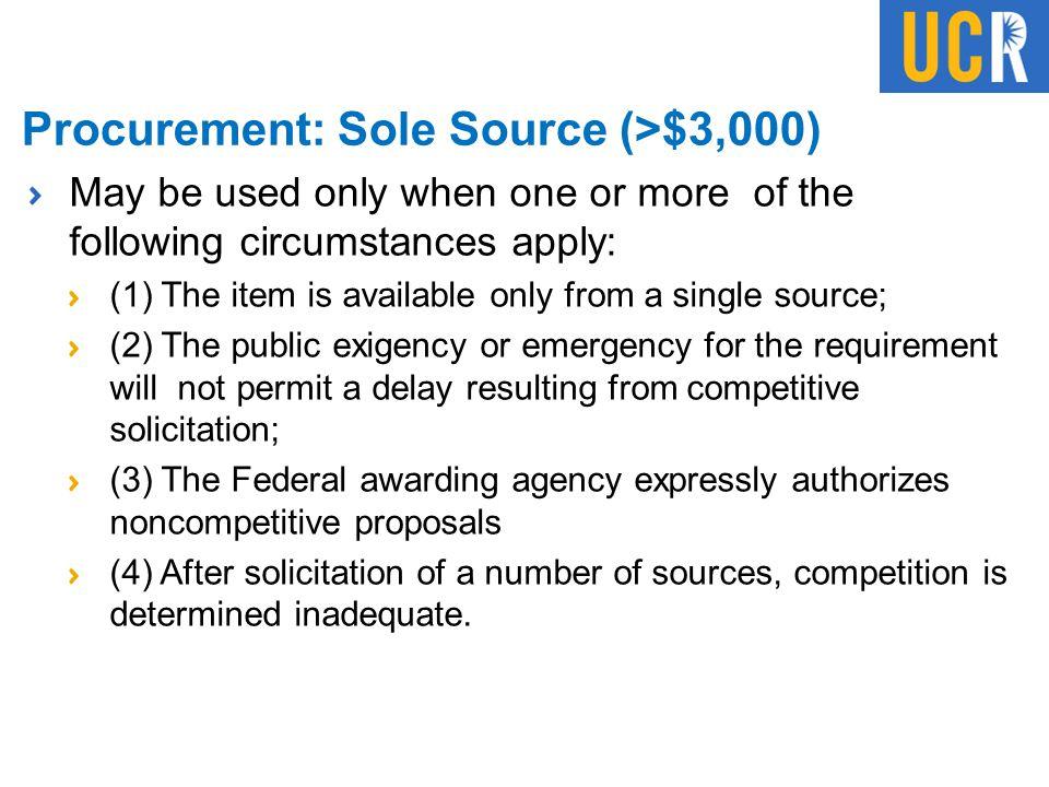 Procurement: Sole Source (>$3,000)