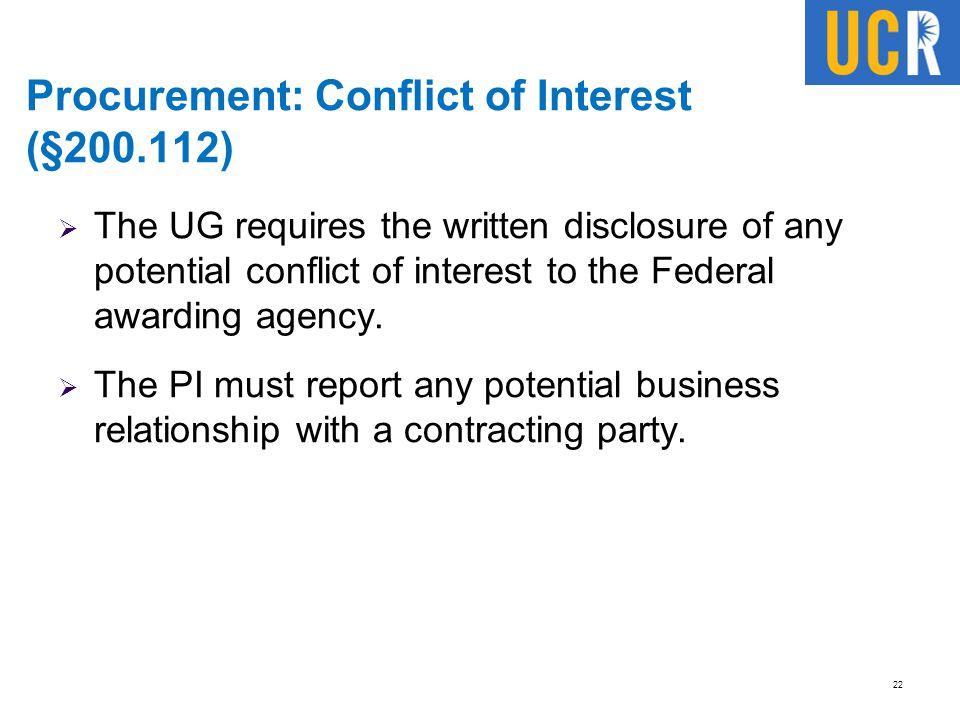 Procurement: Conflict of Interest (§200.112)
