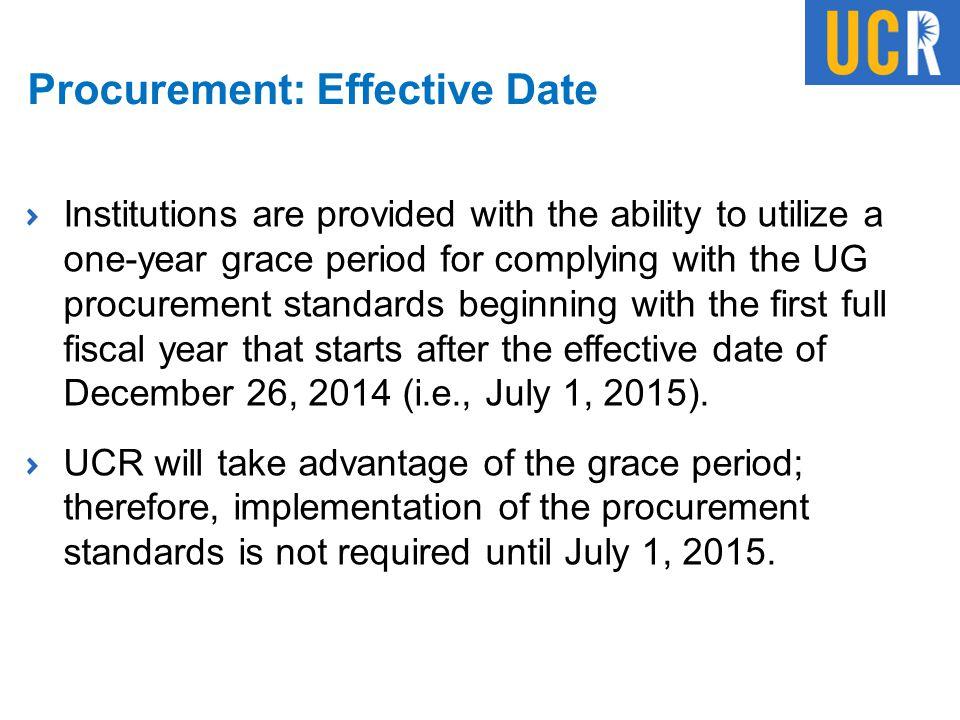 Procurement: Effective Date