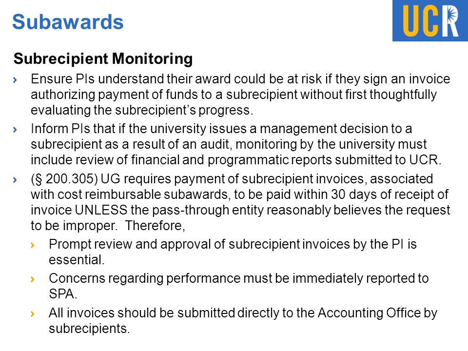 Subawards Subrecipient Monitoring