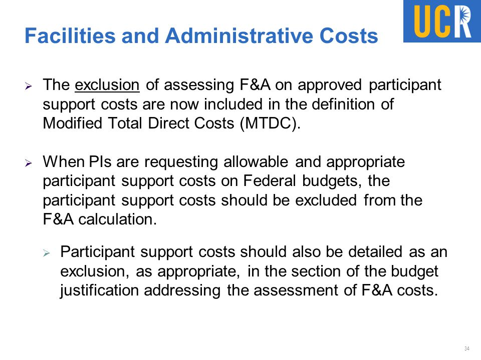 Facilities and Administrative Costs