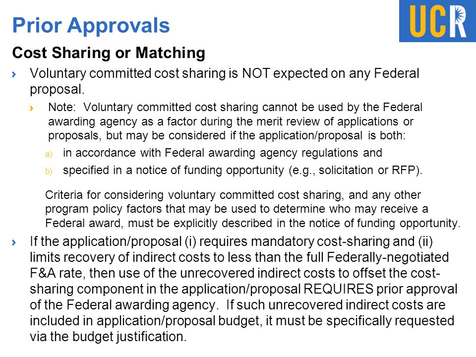 Prior Approvals Cost Sharing or Matching