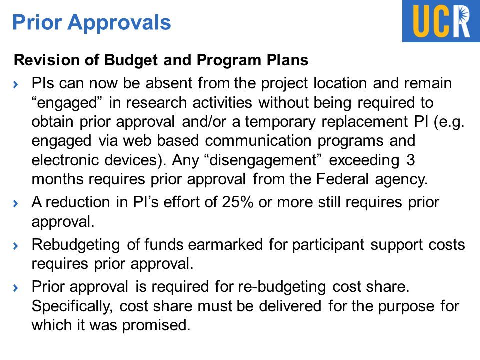 Prior Approvals Revision of Budget and Program Plans