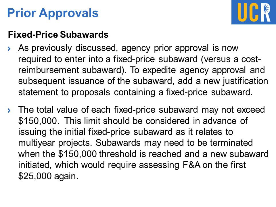 Prior Approvals Fixed-Price Subawards