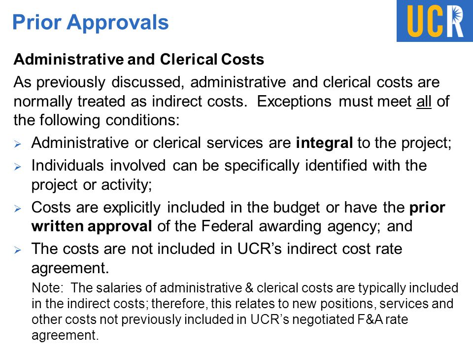 Prior Approvals Administrative and Clerical Costs