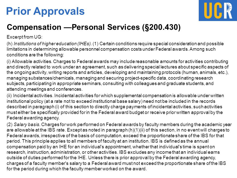 Prior Approvals Compensation —Personal Services (§200.430)