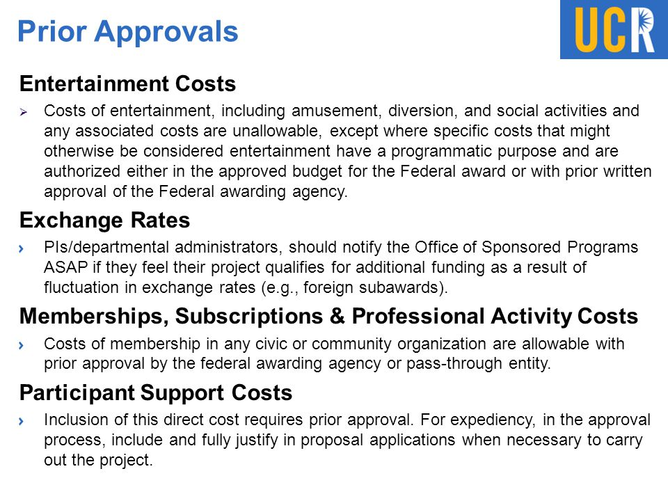 Prior Approvals Entertainment Costs Exchange Rates