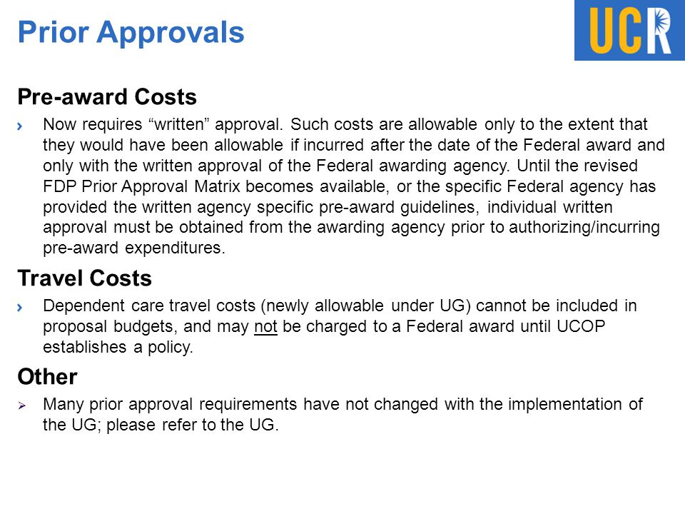 Prior Approvals Pre-award Costs Travel Costs Other