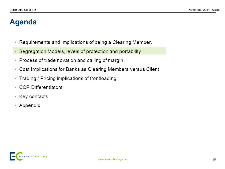 Agenda Requirements and Implications of being a Clearing Member.