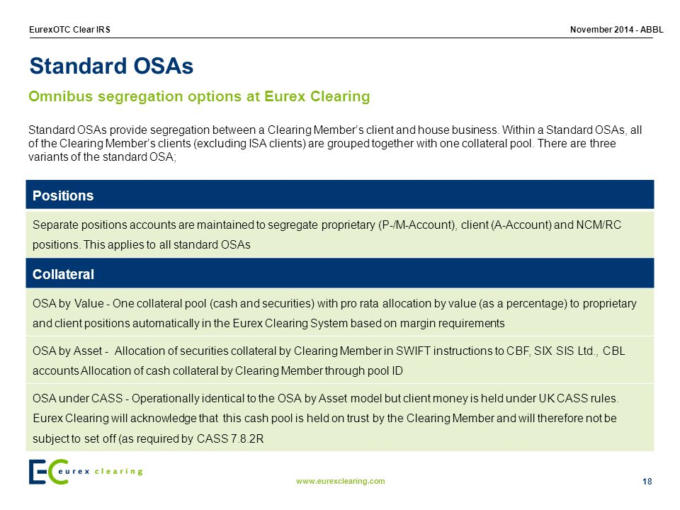Standard OSAs Omnibus segregation options at Eurex Clearing Positions