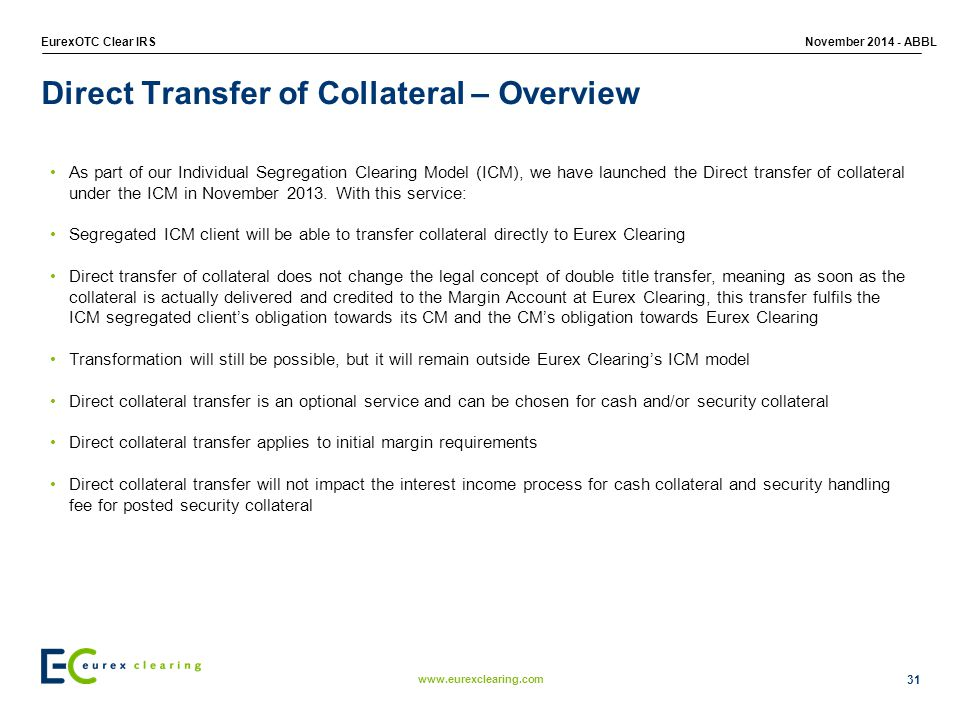 Direct Transfer of Collateral – Overview