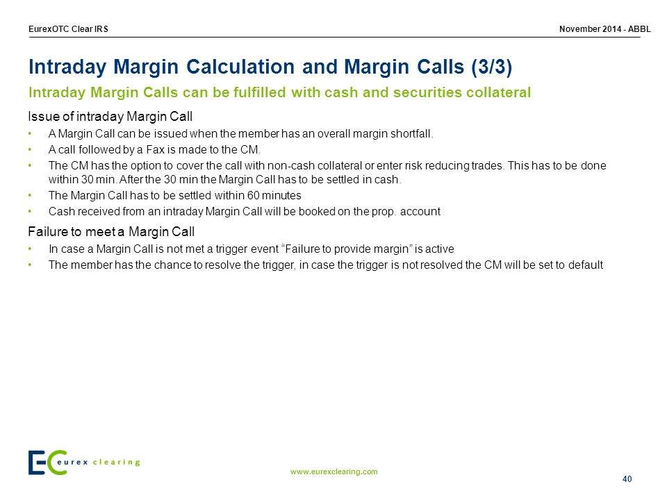 Intraday Margin Calculation and Margin Calls (3/3)