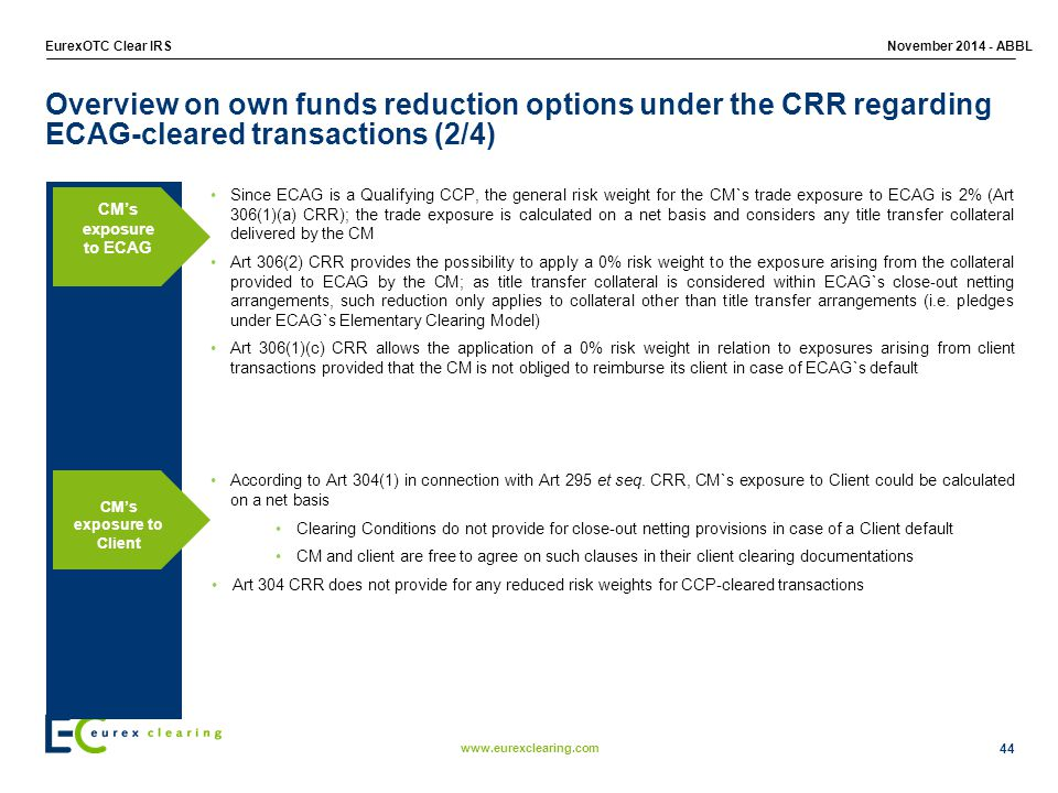 Overview on own funds reduction options under the CRR regarding ECAG-cleared transactions (2/4)