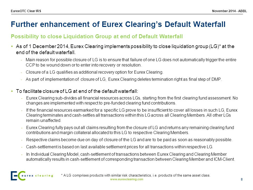 Further enhancement of Eurex Clearing's Default Waterfall